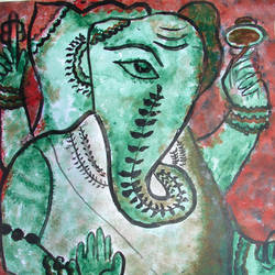 ganesha-2, 16 x 20 inch, anand manchiraju,16x20inch,ivory sheet,paintings,ganesha paintings,paintings for dining room,paintings for living room,paintings for hotel,paintings for hospital,acrylic color,GAL01254025016,ganpati bappa morya,ganesh chaturthi,ganesh murti,elephant god,religious,lord ganesh,ganesha,om,hindu god,shiv parvati, putra,bhakti,blessings,aashirwad,pooja,puja,aarti,ekdant,vakratunda,lambodara,bhalchandra,gajanan,vinayak,prathamesh,vignesh,heramba,siddhivinayak,mahaganpati,omkar,mushak,mouse,ladoo,modak,shlok