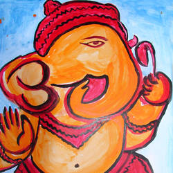 ganesha-3, 16 x 20 inch, anand manchiraju,16x20inch,ivory sheet,paintings,ganesha paintings,paintings for dining room,paintings for living room,paintings for hotel,paintings for hospital,acrylic color,GAL01254025017,ganpati bappa morya,ganesh chaturthi,ganesh murti,elephant god,religious,lord ganesh,ganesha,om,hindu god,shiv parvati, putra,bhakti,blessings,aashirwad,pooja,puja,aarti,ekdant,vakratunda,lambodara,bhalchandra,gajanan,vinayak,prathamesh,vignesh,heramba,siddhivinayak,mahaganpati,omkar,mushak,mouse,ladoo,modak,shlok
