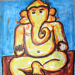 ganesha-4, 16 x 20 inch, anand manchiraju,16x20inch,ivory sheet,paintings,ganesha paintings,paintings for dining room,paintings for living room,paintings for bedroom,paintings for office,paintings for hotel,paintings for hospital,acrylic color,GAL01254025018,ganpati bappa morya,ganesh chaturthi,ganesh murti,elephant god,religious,lord ganesh,ganesha,om,hindu god,shiv parvati, putra,bhakti,blessings,aashirwad,pooja,puja,aarti,ekdant,vakratunda,lambodara,bhalchandra,gajanan,vinayak,prathamesh,vignesh,heramba,siddhivinayak,mahaganpati,omkar,mushak,mouse,ladoo,modak,shlok