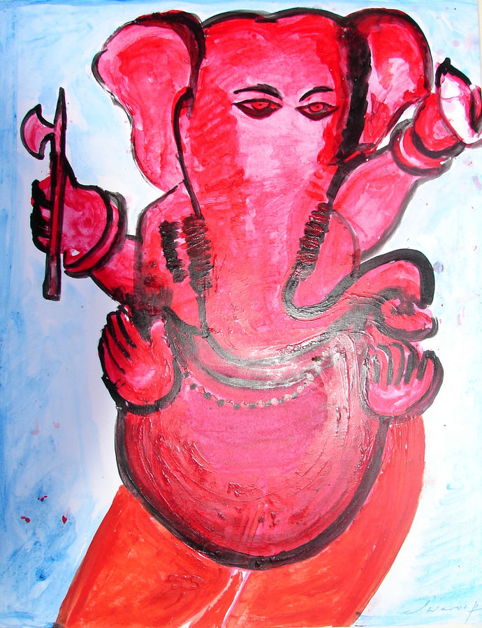 ganesha-5, 16 x 20 inch, anand manchiraju,16x20inch,ivory sheet,ganesha paintings,paintings for dining room,paintings for living room,paintings for office,paintings for hotel,paintings for hospital,paintings for dining room,paintings for living room,paintings for office,paintings for hotel,paintings for hospital,acrylic color,GAL01254025019