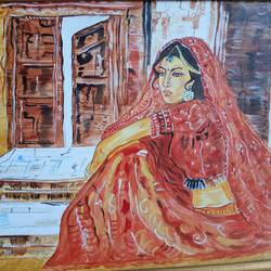 the waiting, 16 x 12 inch, kamakshi jamwal,16x12inch,canvas board,paintings,figurative paintings,paintings for dining room,paintings for living room,paintings for bedroom,paintings for office,paintings for kids room,paintings for hotel,paintings for school,paintings for hospital,acrylic color,GAL0313725021