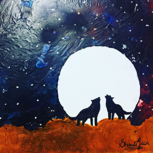 wolf scream, 15 x 12 inch, shruti jain,15x12inch,canvas,paintings,abstract paintings,modern art paintings,animal paintings,paintings for dining room,paintings for living room,paintings for dining room,paintings for living room,acrylic color,pastel color,GAL01403925023