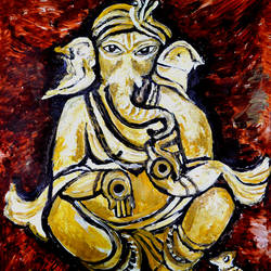 musical ganesha-1, 22 x 28 inch, anand manchiraju,22x28inch,thick paper,paintings,ganesha paintings,paintings for dining room,paintings for living room,paintings for office,paintings for hotel,paintings for hospital,acrylic color,GAL01254025030