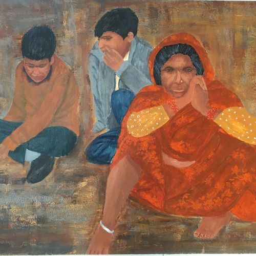 hope for better future - migration, 20 x 16 inch, rajani  arya,20x16inch,canvas board,paintings,figurative paintings,portrait paintings,street art,paintings for living room,acrylic color,GAL01433625036