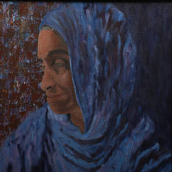 woman in blue veil, 16 x 16 inch, rajani  arya,16x16inch,canvas board,paintings,figurative paintings,portrait paintings,paintings for dining room,paintings for living room,paintings for bedroom,paintings for office,paintings for hotel,paintings for hospital,acrylic color,GAL01433625042