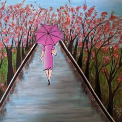 a girl with umbrella, 17 x 12 inch, promila singh,17x12inch,thick paper,paintings,nature paintings,paintings for living room,acrylic color,GAL0823225048