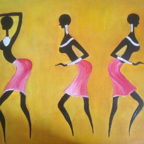 tribal women dancing in an event, 18 x 14 inch, promila singh,18x14inch,canvas,figurative paintings,paintings for living room,paintings for living room,oil color,GAL0823225052