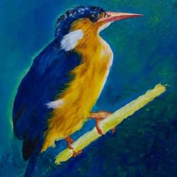 kingfisher, 24 x 36 inch, sahana gupta,24x36inch,canvas board,paintings,still life paintings,animal paintings,paintings for dining room,paintings for living room,paintings for hotel,paintings for dining room,paintings for living room,paintings for hotel,oil color,GAL01435625071