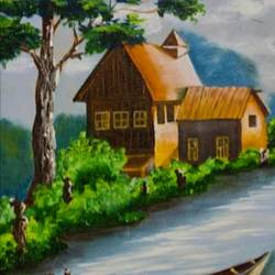 landscape my house by the brook, 30 x 40 inch, sahana gupta,30x40inch,canvas board,landscape paintings,nature paintings,paintings for dining room,paintings for living room,paintings for office,paintings for hotel,paintings for school,paintings for dining room,paintings for living room,paintings for office,paintings for hotel,paintings for school,oil color,GAL01435625072