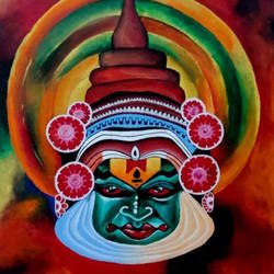 kathakali, 20 x 24 inch, umakant choudhary,20x24inch,canvas board,paintings,abstract paintings,modern art paintings,religious paintings,portrait paintings,paintings for dining room,paintings for living room,paintings for office,paintings for hotel,paintings for school,acrylic color,GAL01424525091