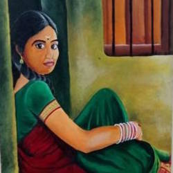a girl, 18 x 24 inch, umakant choudhary,18x24inch,canvas board,paintings,figurative paintings,portrait paintings,paintings for living room,paintings for bedroom,paintings for hotel,acrylic color,GAL01424525095