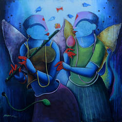 the melody of purple, 42 x 42 inch, anupam  pal,42x42inch,canvas,paintings,figurative paintings,realism paintings,ganesha paintings,radha krishna paintings,contemporary paintings,love paintings,lord shiva paintings,paintings for dining room,paintings for living room,paintings for bedroom,paintings for office,paintings for bathroom,paintings for kids room,paintings for hotel,paintings for kitchen,paintings for school,paintings for hospital,acrylic color,GAL08225096,krishna,Lord krishna,krushna,radha krushna,flute,peacock feather,melody,peace,religious,god,flower,leaves,love