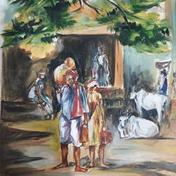 village view, 12 x 20 inch, sarath a,12x20inch,canvas,paintings,conceptual paintings,paintings for living room,oil color,GAL01437225097