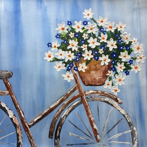 the bicycle, 21 x 17 inch, divya bhagat,21x17inch,canvas,paintings,abstract paintings,still life paintings,nature paintings,paintings for dining room,paintings for living room,paintings for bedroom,paintings for office,paintings for bathroom,paintings for kids room,paintings for hotel,acrylic color,GAL0610325101
