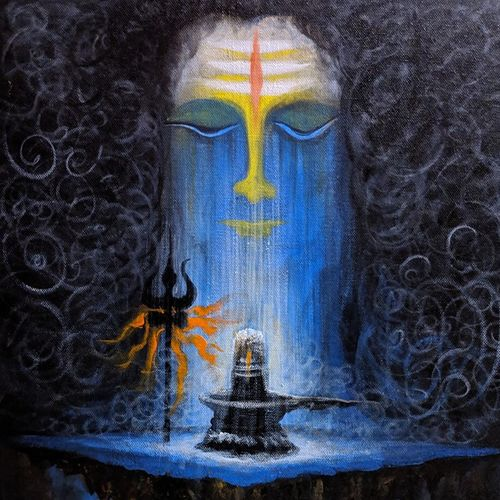 lord shiva, 14 x 20 inch, ramakrishna nimmaraju,14x20inch,canvas,paintings,modern art paintings,lord shiva paintings,paintings for living room,paintings for office,paintings for hotel,acrylic color,GAL0586525103