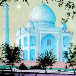 blue taj mahal , 32 x 23 inch, md moin ,32x23inch,canvas,baby paintings,paintings for living room,paintings for living room,oil color,GAL01096025107
