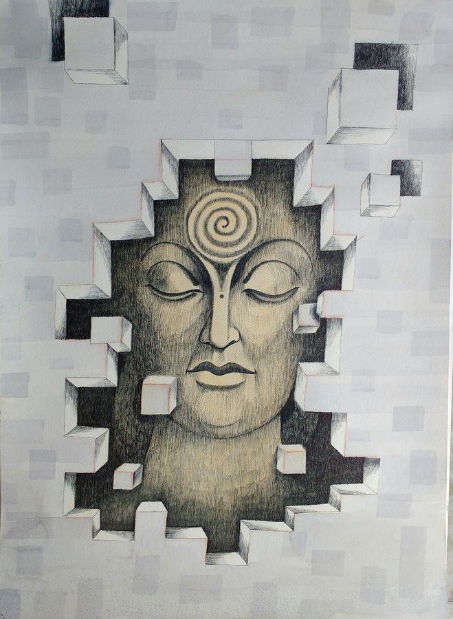 serenity 6, 22 x 32 inch, preeti chaturvedi,22x32inch,fabriano sheet,drawings,buddha drawings,paintings for living room,paintings for office,paintings for hospital,mixed media,GAL01421925108