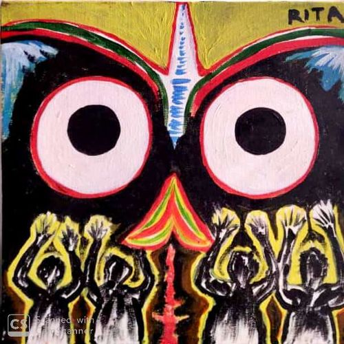 lord jagannath, 12 x 12 inch, rita dash,12x12inch,canvas,paintings,religious paintings,paintings for living room,paintings for office,paintings for hotel,paintings for school,paintings for hospital,acrylic color,GAL01382125110