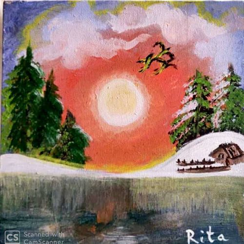 a snowy evening, 12 x 12 inch, rita dash,12x12inch,canvas,paintings,landscape paintings,paintings for living room,paintings for office,paintings for hotel,paintings for school,paintings for hospital,acrylic color,GAL01382125112