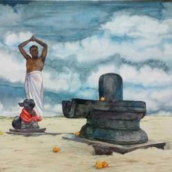 linga at sea shore, 22 x 15 inch, shreedhara k k,22x15inch,renaissance watercolor paper,paintings,landscape paintings,religious paintings,lord shiva paintings,watercolor,GAL01264925115