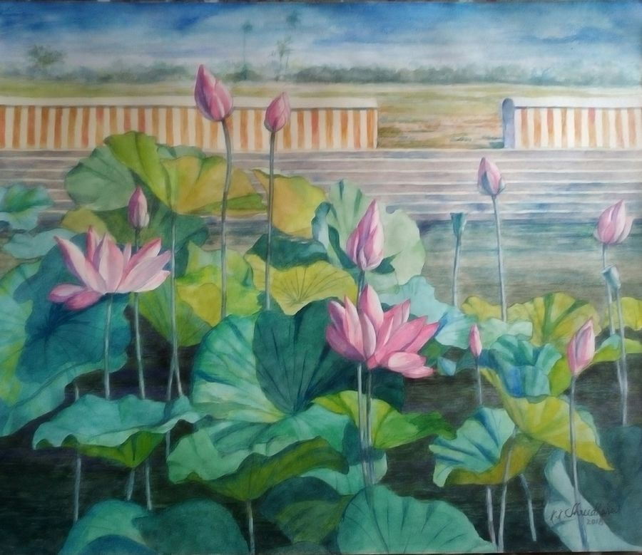 lotus pond, 11 x 15 inch, shreedhara k k,11x15inch,renaissance watercolor paper,paintings,flower paintings,landscape paintings,paintings for dining room,paintings for living room,paintings for office,paintings for hotel,paintings for school,paintings for hospital,watercolor,GAL01264925116