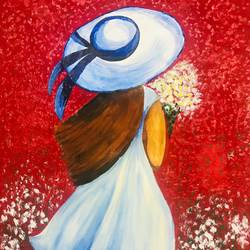 a girl in garden of flowers, 20 x 28 inch, vimal drall,20x28inch,canvas,paintings,nature paintings,paintings for dining room,paintings for living room,paintings for bedroom,acrylic color,GAL01417725118