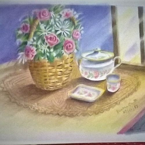 basket of roses, 12 x 17 inch, prabha  panth,12x17inch,drawing paper,paintings,still life paintings,paintings for living room,paintings for office,paintings for hospital,pencil color,GAL0390725126