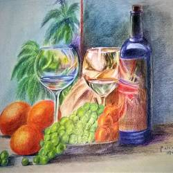 still life, 17 x 12 inch, prabha  panth,17x12inch,drawing paper,paintings,still life paintings,paintings for living room,paintings for hotel,pencil color,GAL0390725127