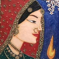 indian bride, 21 x 27 inch, anna anna,21x27inch,wood board,sculptures,pottery,wood,GAL01440225140