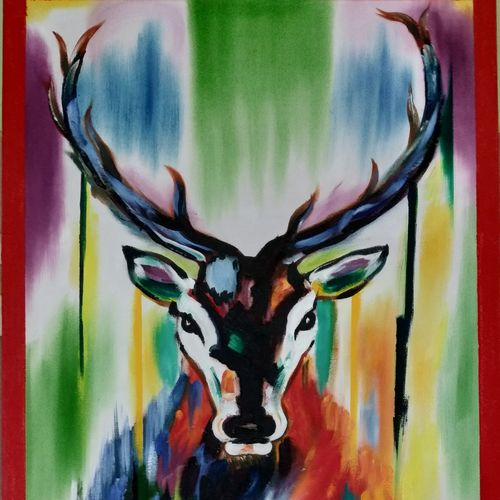 abstract deer painting, 16 x 26 inch, kiran patel,16x26inch,canvas,paintings,abstract expressionism paintings,paintings for living room,oil color,GAL01414625144