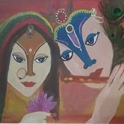 radha krishna, 11 x 8 inch, anitha l,11x8inch,canvas,radha krishna paintings,love paintings,paintings for living room,paintings for bedroom,paintings for living room,paintings for bedroom,acrylic color,GAL0968925145