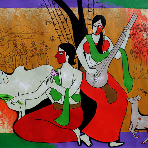 happiest moment , 47 x 35 inch, chetan katigar,47x35inch,canvas,paintings,abstract paintings,figurative paintings,modern art paintings,multi piece paintings,religious paintings,art deco paintings,expressionism paintings,impressionist paintings,radha krishna paintings,contemporary paintings,love paintings,paintings for dining room,paintings for living room,paintings for bedroom,paintings for office,paintings for kids room,acrylic color,GAL026625153