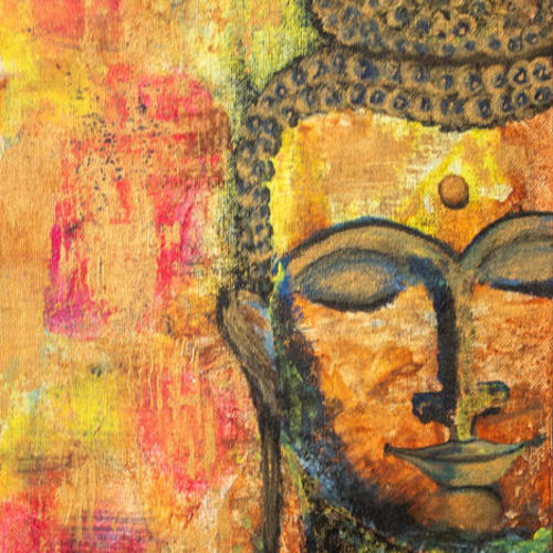 buddha, 8 x 10 inch, preetika jain,8x10inch,canvas,paintings,buddha paintings,religious paintings,paintings for dining room,paintings for living room,paintings for office,paintings for hotel,paintings for school,paintings for hospital,acrylic color,GAL01440425163