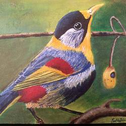 bird beauty, 10 x 8 inch, preetika jain,10x8inch,canvas,paintings,nature paintings,animal paintings,realistic paintings,paintings for dining room,paintings for living room,paintings for bedroom,paintings for office,paintings for kids room,paintings for hotel,paintings for school,paintings for hospital,acrylic color,GAL01440425164