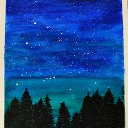 night horizon, 6 x 8 inch, nidhi singhal,6x8inch,thick paper,landscape paintings,nature paintings,watercolor,GAL01399425165