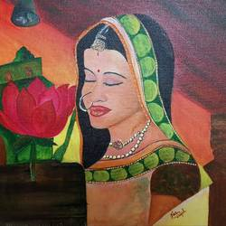 devotion and peace, 10 x 12 inch, neha  gangal,10x12inch,canvas,paintings,figurative paintings,religious paintings,impressionist paintings,paintings for dining room,paintings for living room,paintings for bedroom,paintings for hospital,acrylic color,GAL01408625172