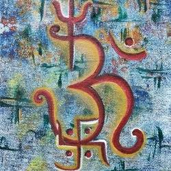 om namo, 5 x 8 inch, neha  gangal,5x8inch,canvas,paintings,religious paintings,paintings for dining room,paintings for living room,paintings for bedroom,paintings for school,paintings for hospital,acrylic color,GAL01408625173