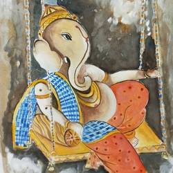 lord ganesha, 5 x 8 inch, neha  gangal,5x8inch,ivory sheet,religious paintings,ganesha paintings,paintings for dining room,paintings for living room,paintings for school,paintings for dining room,paintings for living room,paintings for school,watercolor,GAL01408625175,ganpati bappa morya,ganesh chaturthi,ganesh murti,elephant god,religious,lord ganesh,ganesha,om,hindu god,shiv parvati, putra,bhakti,blessings,aashirwad,pooja,puja,aarti,ekdant,vakratunda,lambodara,bhalchandra,gajanan,vinayak,prathamesh,vignesh,heramba,siddhivinayak,mahaganpati,omkar,mushak,mouse,ladoo,modak