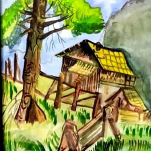 wood house in forest, 13 x 17 inch, rita dash,13x17inch,rice paper,paintings,expressionism paintings,paintings for living room,paintings for office,paintings for hotel,paintings for school,watercolor,GAL01382125179