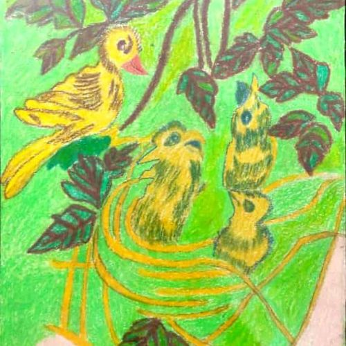 a mother bird rearing  her family , 14 x 22 inch, rita dash,14x22inch,rice paper,paintings,expressionism paintings,paintings for living room,paintings for office,paintings for hotel,paintings for school,pastel color,GAL01382125180