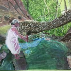 meghalaya old woman washing cloth, 18 x 24 inch, saradha devi prabhakaran,18x24inch,canvas board,paintings,landscape paintings,nature paintings,illustration paintings,photorealism paintings,realistic paintings,paintings for living room,paintings for bedroom,paintings for bathroom,paintings for hotel,acrylic color,GAL0798825183