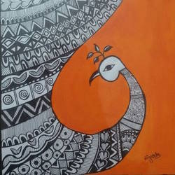 morni, 10 x 14 inch, niyukta  agarwal,10x14inch,paper,madhubani paintings,paintings for dining room,paintings for living room,paintings for dining room,paintings for living room,pastel color,ball point pen,paper,GAL01443025197