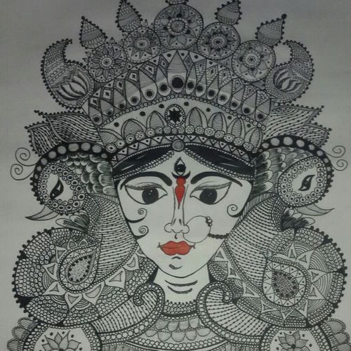 durga maa, 22 x 28 inch, niyukta  agarwal,22x28inch,paper,paintings,religious paintings,paintings for dining room,paintings for office,poster color,ball point pen,paper,GAL01443025198