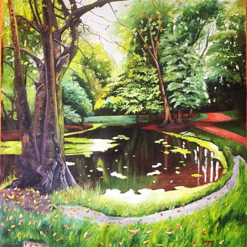 trees by the water , 30 x 36 inch, kangana vohra,30x36inch,canvas,paintings,landscape paintings,nature paintings,photorealism paintings,photorealism,realism paintings,surrealism paintings,realistic paintings,water fountain paintings,paintings for dining room,paintings for living room,paintings for bedroom,paintings for office,paintings for bathroom,paintings for kids room,paintings for hotel,paintings for school,paintings for hospital,acrylic color,GAL0725825199