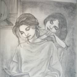 sisters, 15 x 20 inch, minakshi goyal,abstract expressionist drawings,paintings for bedroom,thick paper,pencil color,15x20inch,GAL05952520
