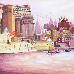 varanasi ghat, ganga mahal, landscape, architecture, indian, 12 x 10 inch, harshita s,12x10inch,canvas,paintings,landscape paintings,religious paintings,paintings for dining room,paintings for living room,paintings for bedroom,paintings for office,paintings for hotel,paintings for school,acrylic color,GAL01430725225
