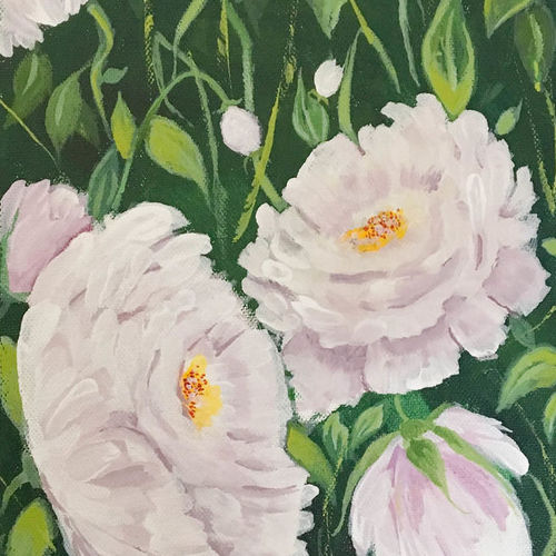 floral, painting, acrylic, white tree peonies, 8 x 10 inch, harshita s,8x10inch,canvas,paintings,flower paintings,impressionist paintings,paintings for dining room,paintings for living room,paintings for bedroom,paintings for office,paintings for bathroom,paintings for kids room,paintings for hotel,paintings for school,paintings for hospital,acrylic color,GAL01430725226