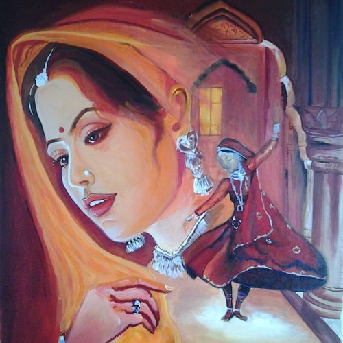girl, 50 x 65 inch, minakshi goyal,figurative paintings,paintings for living room,ply board,acrylic color,50x65inch,GAL05952523