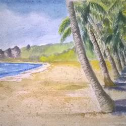 on the beach, 18 x 12 inch, prabha  panth,18x12inch,handmade paper,paintings,landscape paintings,paintings for living room,paintings for hotel,paintings for hospital,watercolor,GAL0390725232