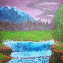 spring and the waterfall, 12 x 12 inch, sneha singh,12x12inch,canvas,paintings,landscape paintings,nature paintings,paintings for dining room,paintings for living room,paintings for bedroom,paintings for office,paintings for bathroom,paintings for hotel,paintings for kitchen,paintings for school,paintings for hospital,paintings for dining room,paintings for living room,paintings for bedroom,paintings for office,paintings for bathroom,paintings for hotel,paintings for kitchen,paintings for school,paintings for hospital,oil color,GAL01445325236